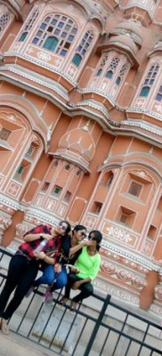 Enjoying at Hawa Mahal, Jaipur